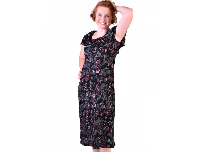 Tříčtvrteční šaty s květinovým potiskem, rukávek