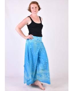 Modré thajské zvonové kalhoty, orientální potisk, elastický pas