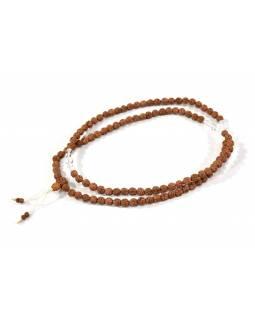 Mala Rudraksha s křišťálem, 108 korálků, průměr 8mm, délka 48cm