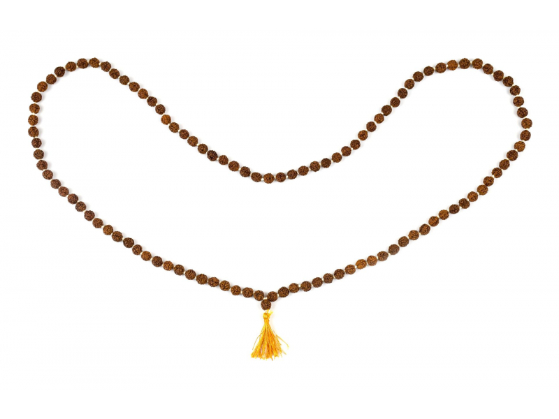 Mala Rudraksha, 108 korálků, průměr 6mm, délka 40cm