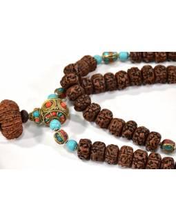 Unikátní mala Rudraksha v tibetském stylu, 54 korálků, 15mm, délka cca 60cm