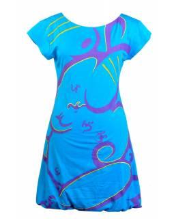 Krátké balonové šaty s krátkým rukávem, tyrkysové, tisk Ganesh, prostřihy a výš.