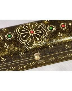 Ručně malovaná dřevěná truhlička, hnědá, 20x5x5,5cm