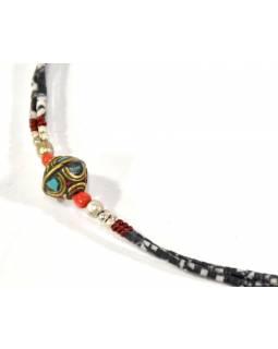 Náhrdelník s korálky z rekonstruovaného tyrkysu a korálu, tibetský styl, mix