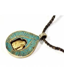 Náhrdelník s tyrkysovým amuletem s Buddhou na koženém řemínku, 4x3cm