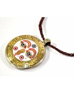 Náhrdelník s amuletem, Buddhovy oči a Óm, na koženém řemínku, 4 cm