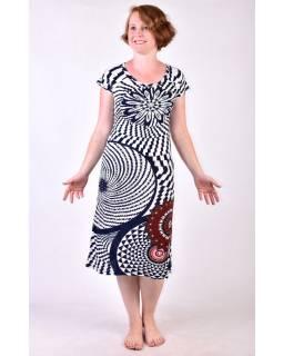 Tmavě modro/bílé šaty s potiskem a ručně vyšívanými korálky