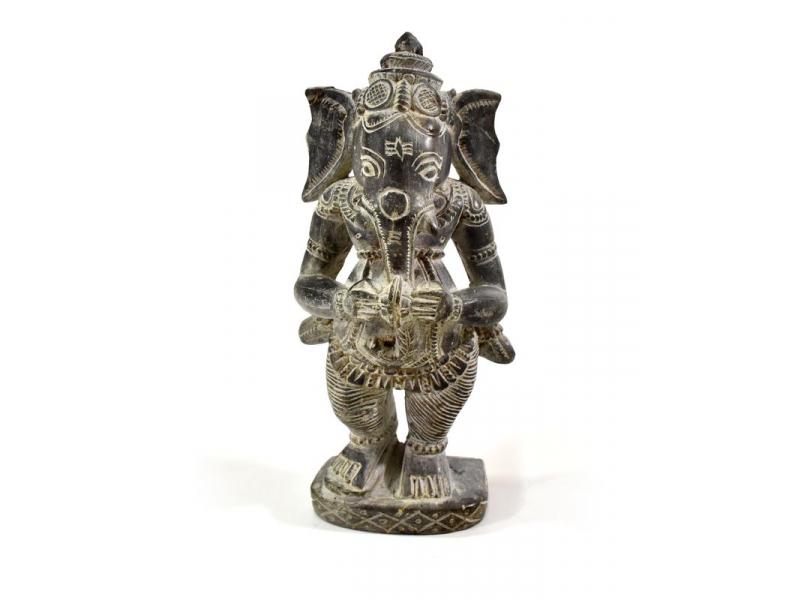 Kamenná soška, Ganéša stojící, ručně vyřezávaná, 18cm