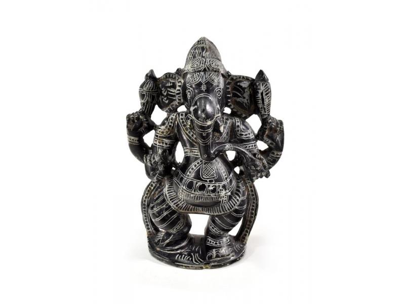 Kamenná soška, Ganéša stojící, ručně vyřezávaná, 15,5cm