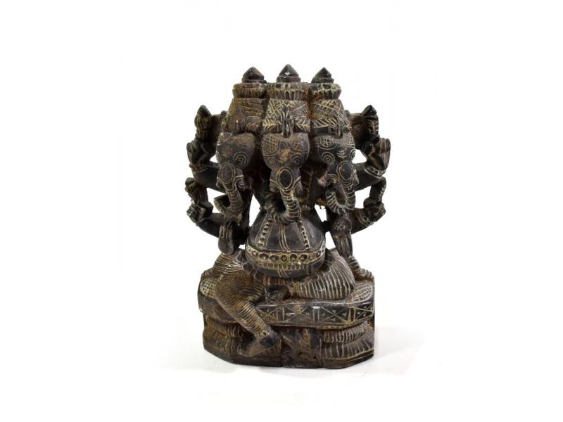 Kamenná soška, Ganéša 3 hlavy (Trimukha Ganapathi), ručně vyřezávaná, 13,5cm