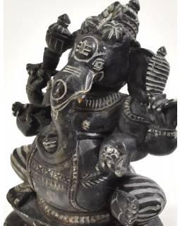 Kamenná soška, Ganéša sedící, ručně vyřezávaná, 13cm