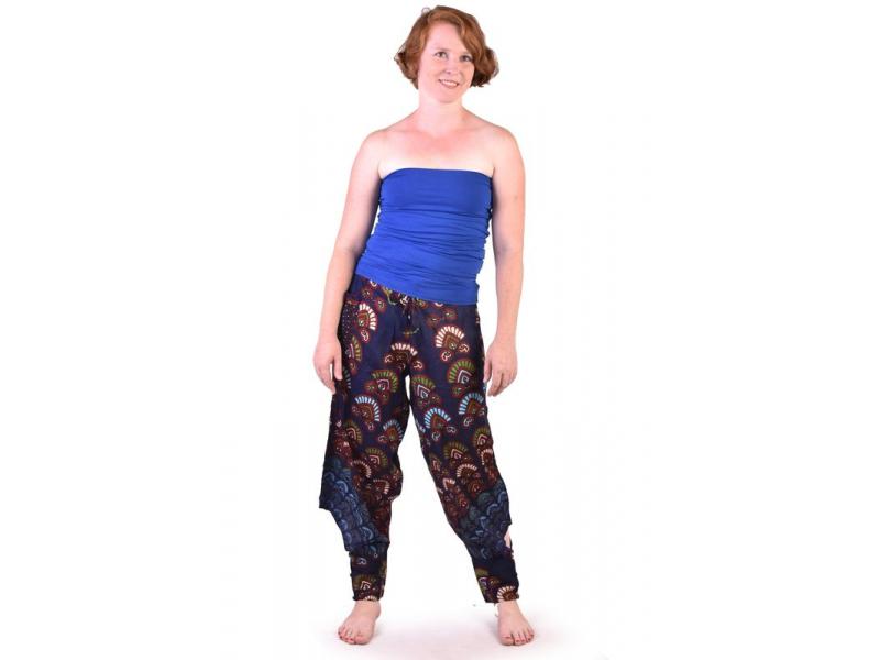 Dlouhé letní tmavě modré kalhoty s potiskem, elastický pas