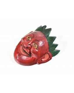 Dřevěná maska joker, červená, 16cm