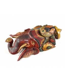 Ganeš, dřevěná maska, ručně malovaná, 50cm