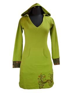Mikinové šaty s dlouhým rukávem a kapucou, zeleno-khaki, potisk, kapsa na břiše