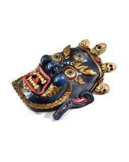 Bhairab, dřevěná maska, antik patina, ruční práce, 37cm