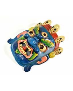 Bhairab, dřevěná maska, modrá, ruční práce, 29cm