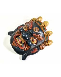 Bhairab, dřevěná maska, modrá, ruční práce, 26cm
