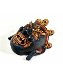 Bhairab, dřevěná maska, modrá, ruční práce, 25cm
