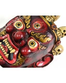 Bhairab, dřevěná maska, tmavě červená, ruční práce, 30cm