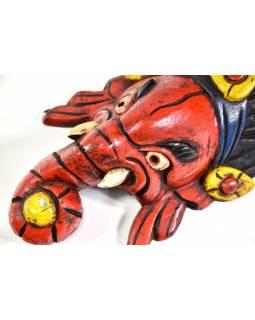 Ganeš, dřevěná maska, ručně malovaná, 26cm