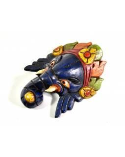 Ganeš, dřevěná maska, ručně malovaná, 23cm