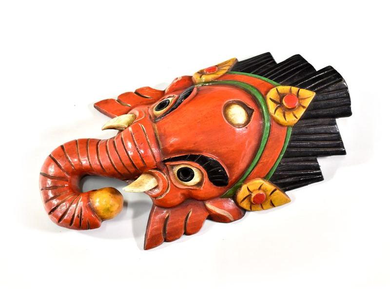 Ganeš, dřevěná maska, ručně malovaná, 32cm