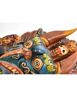 Dřevěná maska, Garuda, ručně malovaná, 31cm