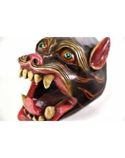 Dřevěná maska, tygr, ručně malovaná, 18cm