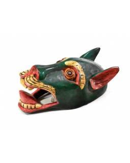 Dřevěná maska, sněžný lev zelený, ručně malovaná, 20cm