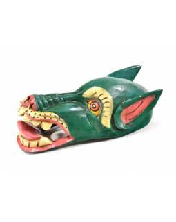 Dřevěná maska, sněžný lev, zelená, ručně malovaná, 19cm