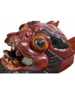 Dřevěná maska, sněžný lev, ručně malovaná, 18cm