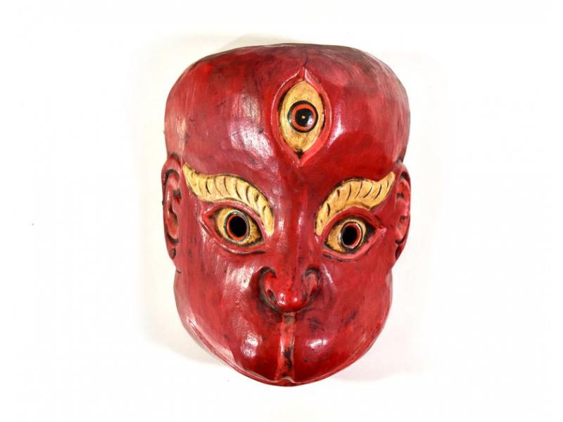 Dřevěná maska, opice, ručně malovaná, 20cm