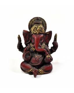 Ganesh červený, ručně malovaný a zlacený, pryskyřice, 10cm
