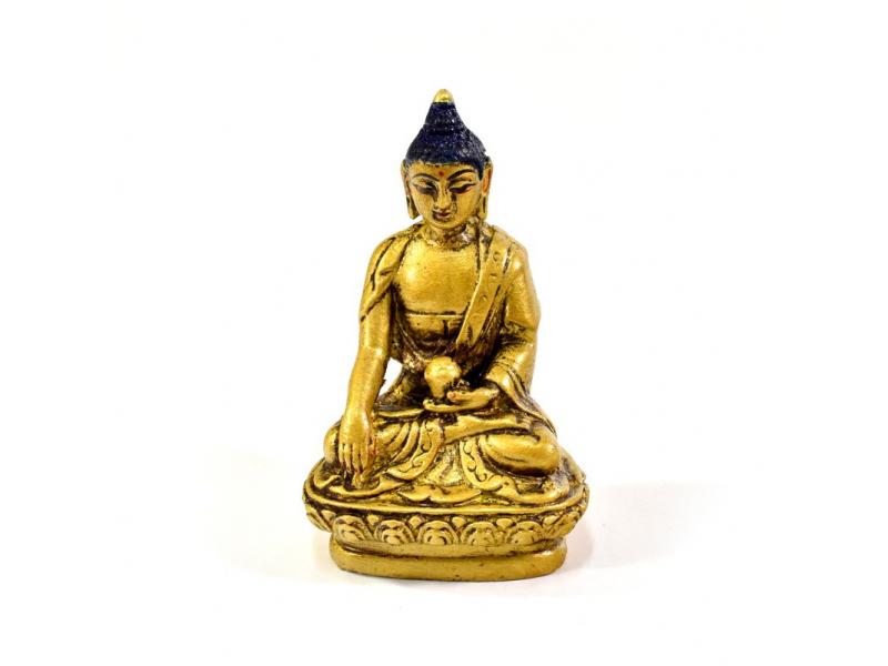 Buddha Šákjamuni, pryskyřice, zlacený, ručně vyřezávaný, 10cm