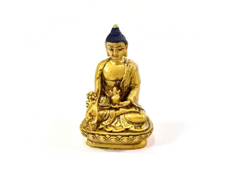 Uzdravující Buddha, pryskyřice, zlacený, ručně vyřezávaný, 10cm