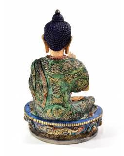 Buddha Amogasidhi, pryskyřice, ručně vyřezávaný a barvený, 19cm