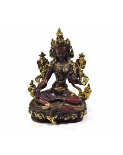 Zelená Tara, sedící, zlacená, pryskyřice, 15cm