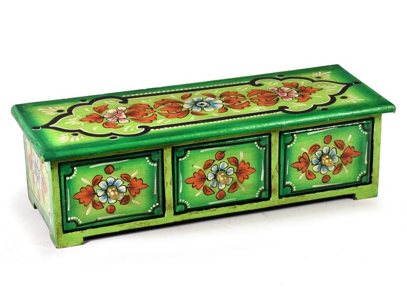 Ručně malovaná dřevěná skříňka se 3 šuplíčky, zelená, 36x13x11cm