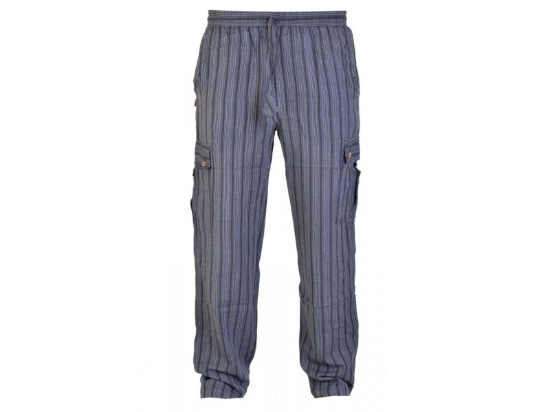 Kalhoty, unisex, dlouhé, černé proužky, kapsy na boku, guma v pase
