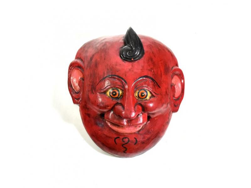 Dřevěná maska joker, červená, 15cm