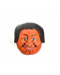 Dřevěná maska joker, oranžová, 15cm