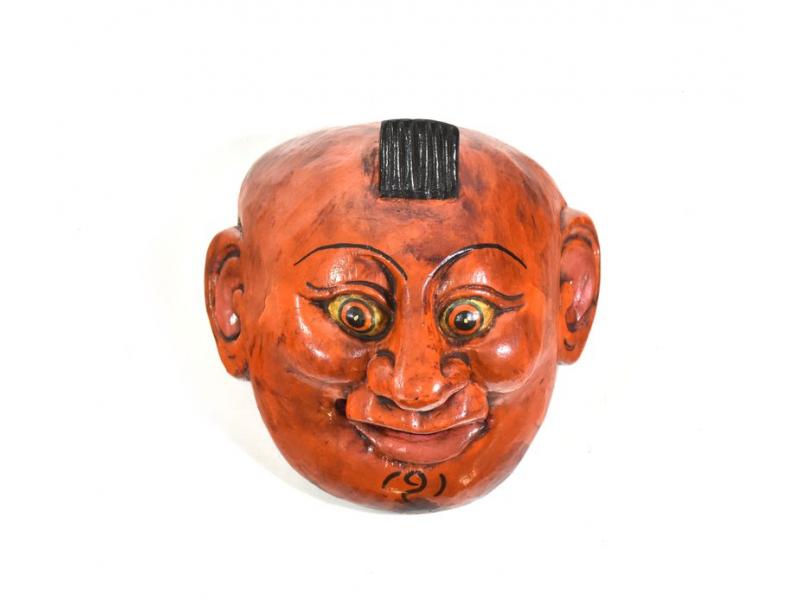 Dřevěná maska joker, oranžová, 14cm