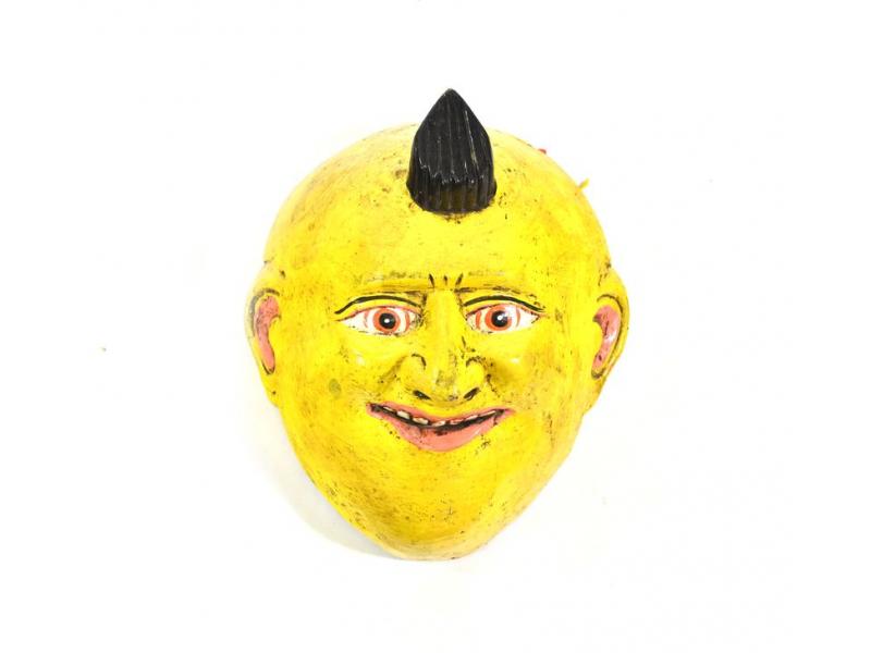 Dřevěná maska joker, žlutá, 18cm