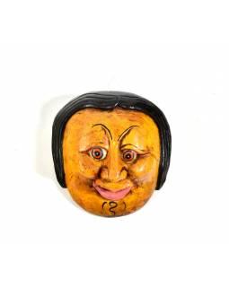 Dřevěná maska joker, žlutá, 14cm