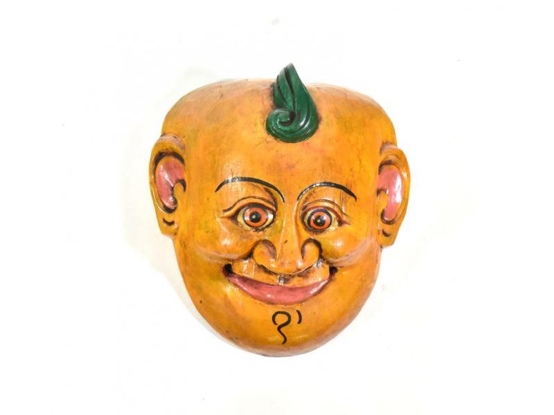 Dřevěná maska joker, žlutá, 16cm