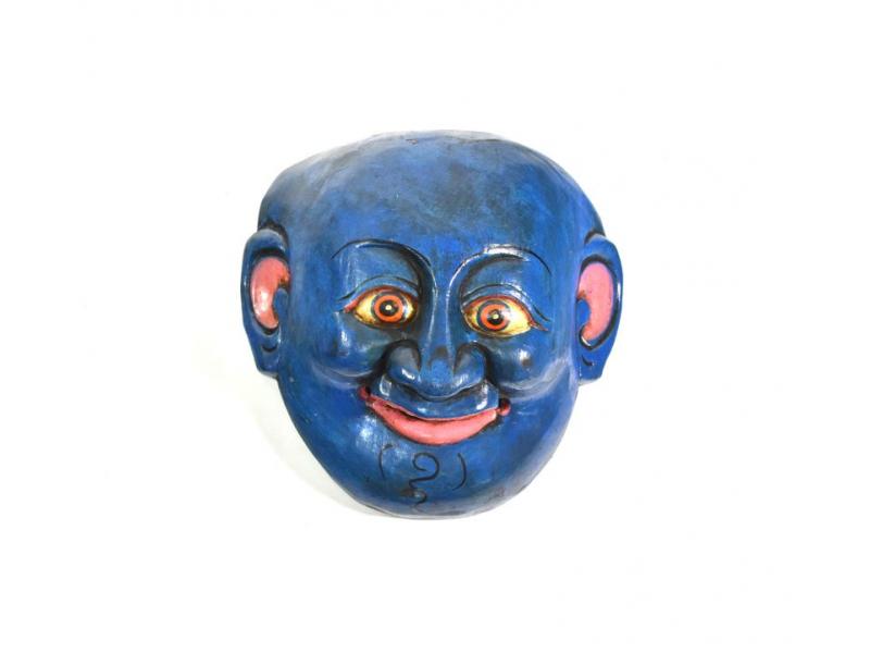 Dřevěná maska joker, modrá, 15cm