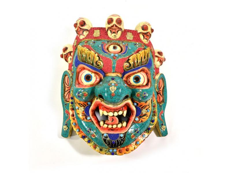 Dřevěná maska, Bhairab, vykládaný tyrkysem a korálem, 31cm