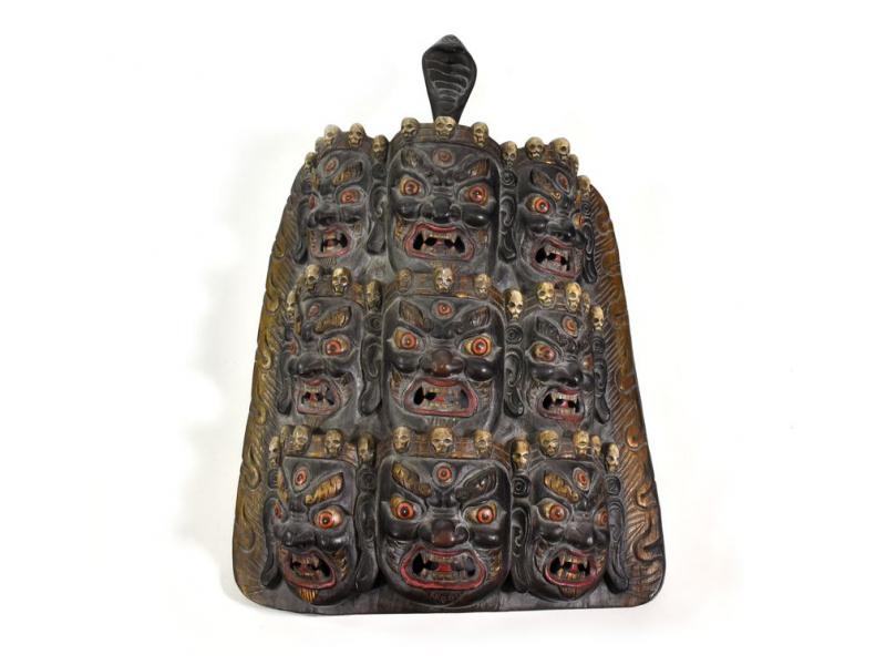 Bhairab devět hlav, dřevěná maska, černá, ruční práce, 40cm