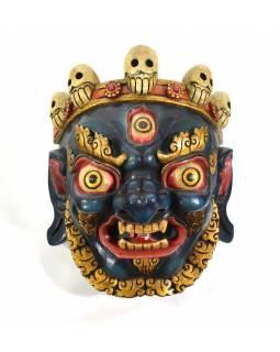 Bhairab, malovaná dřevěná maska, antik patina, ruční práce, 32cm
